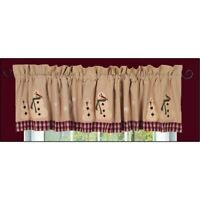 New Country Primitive Christmas Red Checked APPLIQUED SNOWMAN VALANCE Curtains
