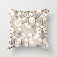 UK Geometric Cushion Covers Pink Marble Grey Sofa Pillow Case Cover 44x 44cm
