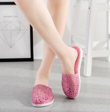 Women Flat Plastic Slippers Sandals Casual Bath Slippers Hollow Out Jelly Shoes
