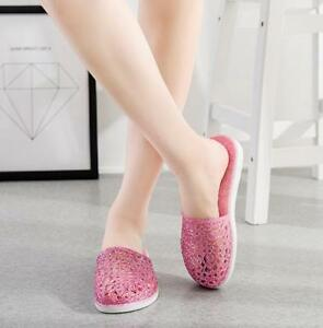 Ladies Plastic Close Toe Casual Bath Slippers Hollow Out Jelly Shoes Sandal Slid