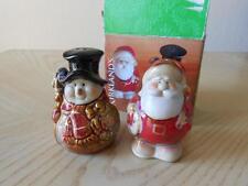 "Kirkland's Santa & Snowman Salt & Pepper Shaker Set Stoneware 3-1/4"" Tall"