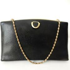 JANE SHILTON Vintage Black Genuine Cowhide Split Leather Shoulder Clutch Bag
