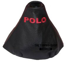 """Gear Stick Gaiter For Volkswagen Polo 9N 9N2 2002-2009 Leather """"POLO"""" Red Logo"""