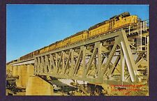 LMH Postcard  UNION PACIFIC Low Nose UP 416 EMD SD24 American Falls BRIDGE ID SD