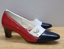 New listing Vintage Naturalizer Red White Blue Patent Pumps 7