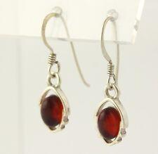 Orange Glass Dangle Earrings - 925 Sterling Silver Women's Fine Estate Hooks