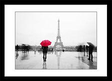 Donna con Ombrello rosso Parigi Torre Eiffel incorniciato stampa foto Poster Art