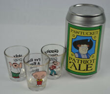 Family Guy Pawtucket Patriot Ale Can with 3 Family Guy Shot Glasses MINT