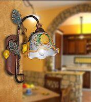 Applique parete lampada ferro battuto artigianale legno e ceramica mod. limone