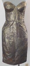 Johanna Johnson Gold metallic Beauville Dress bustier corset body con 4 EUC!