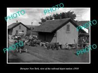 OLD POSTCARD SIZE PHOTO OF DERUYTER NEW YORK THE RAILROAD DEPOT STATION c1910