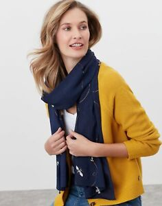 Joules Womens Conway Printed Scarf - Navy Bee - One Size