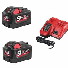 Milwaukee M18nrg-902 Rapid Fast Charger and 18v X2 9.0ah Batteries Bundle