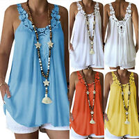 Womens Summer Beach Loose Sleeveless Vest T-Shirts Blouse Boho Lace Tunic Tops