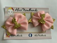Pair / 1st Birthday Girl Party Hair Clips Number 1 Gold Glitter Pink Bow 3 inch