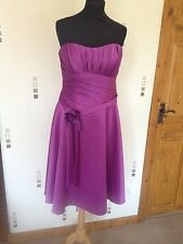Purple Satin Ronald Joyce Dress Size 14 Flower Detail Prom/ Evening