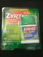 Zyrtec Allergy 24 Hour 10 MG Tablets 70 + 20 = 90 TABLETS JULY 2022 #6909