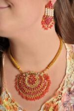 Indian Bollywood Fashion Jewelry Bridal Gold Necklace Set With Dangle Earrings