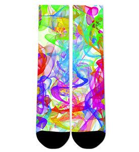 Custom Rainbow Smoke White Crew Socks NEW