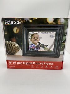 "Polaroid 8"" Digital Picture Frame Distressed Black Wood Frame PDF-800DB"