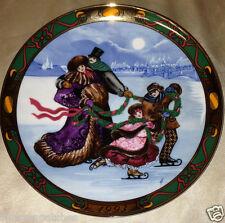 """ROYAL COPENHAGEN 1993 CHRISTMAS IN DENMARK SKATING PARTY PLATE 8 3/8"""" FAMILY"""