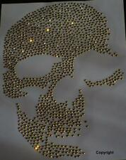 Strass Hot Fix Bügelbild Totenkopf,Skull Gold 20 x 13 cm