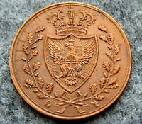 ITALIAN STATES KINGDOM OF SARDINIA CARLO FELICE 1826 1 CENTESIMI, COPPER