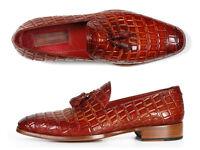 Paul Parkman Men's Reddish Camel Crocodile Embossed Calfskin Tassel Loafer (ID#0