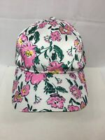 Time and Tru Womens One Size Satin Baseball Cap White Floral W/ Adjustable Strap