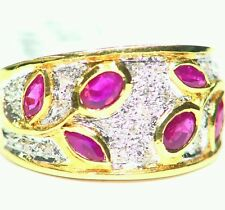 .90CT 14K Gold Natural White Round Cut Diamond Ruby Vintage Wedding Band Ring
