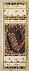 Iowa Hawkeyes Michigan St Football FULL Ticket 11/10 1984 Lorenzo White TD Stub