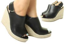 Womens Ladies Sling Back Wedge Espadrille Sandals Slip On Platform Summer Shoes