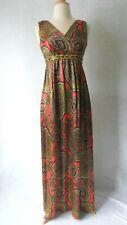 60's 1960's Vintage MoD Paisley Print Slinky Maxi Dress Empire Waist S