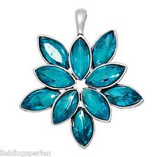 5 Glas Anhänger Blumen Antiksilber Malachitblau Mit Glas Cabochon 53x45mm