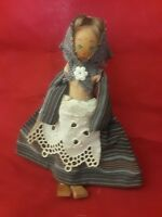 "WOODEN DOLL WITH PAINTED FACE 6"" TALL"