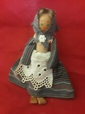 """Wooden Doll With Painted Face 6"""" Tall"""