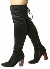 Womens Tortoise Shell High Heel Over The Knee Wide/Slim Calf Fit Stretch Boots