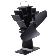 HEAT POWERED WOOD STOVE FAN BLACK Eco Friendly