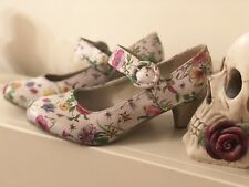 Mary Jane Strap Joe Browns Heels Size 5 Vintage Kitsch Style Floral Butterfly