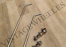 "LAMBRETTA/VESPA - 24"" MIRROR STEM & MIRROR SPOT LAMP BRACKET SET STAINLESS STEEL"