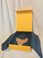 New In Box FENDI Goldtone Hammered Statement Collar Necklace