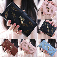 Women's Bifold Gold Leaf Clutch Card Holder Purse Bag Ladies Long Handbag Wallet