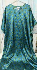 RENE ROFE At Home Muumuu Kaftan Lounge Robe Blue Peacock Feathers 1 Sz Fits All