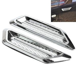2× Chrome Car Air Flow Fender Side Vent Intake Grille Decor Sticker Accessories
