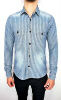 SCOTCH & SODA Men's Long Sleeve RISE'N SHINE Striped Denim Shirt size Medium