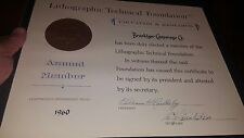 1960 CERTIFICATE LITHOGRAPHIC TECHNICAL FOUNDATION BROOKLYN COOPERAGE COMPANY
