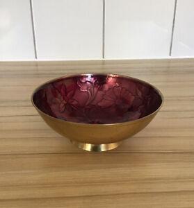 Beautiful Enamel & Brass Bowl *Dish Trinket - Floral Design Inside In A Rich Col