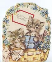 VINTAGE GRAY BROWN KITTENS CATS FORGET ME NOTS WICKER BASKET CUTE GREETING CARD