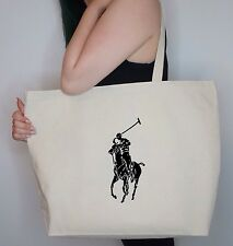NEW Mens Womens Ralph Lauren POLO LARGE Shopping Tote BAG Canvas grocery Gift