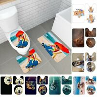 3Pcs Animal Bathroom Non-Slip Marine Life Pedestal Rug+Lid Toilet Cover+Bath Mat